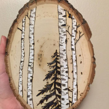 4x 6 wooden art, pyrography, wood burning art, Birch Trees , natural decor, wooden wall art, Pine Tree , minimalist