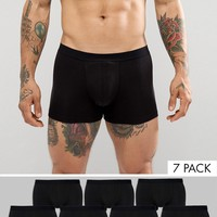 ASOS Trunks In Black 7 Pack at asos.com