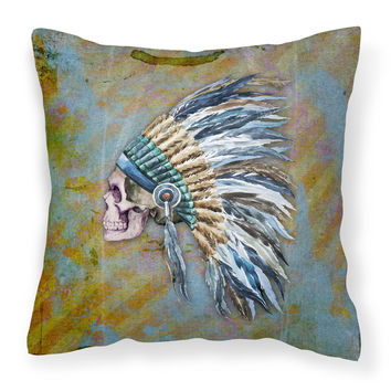 Day of the Dead Indian Chief Skull  Fabric Decorative Pillow BB5128PW1818