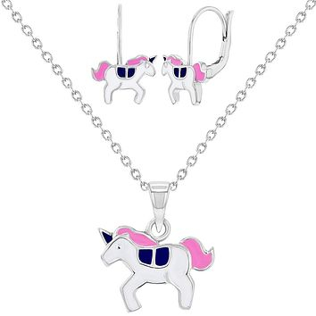 925 Sterling Silver Pink Enamel Unicorn Jewelry Set Necklace Earrings 16""