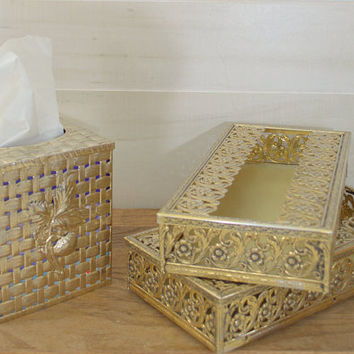 Decorative Tissue Box Covers, Metal Tissue Box Holder, Brass Tissue Cover Box, Rectangular Tissue Box Cover