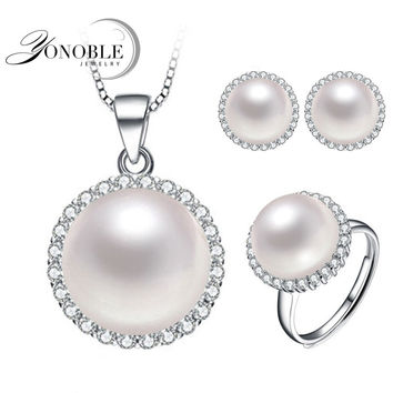 Beautiful natural real pearl jewelry set 925 silver for women wedding bridal jewelry sets pearl pendant earring ring lady gift