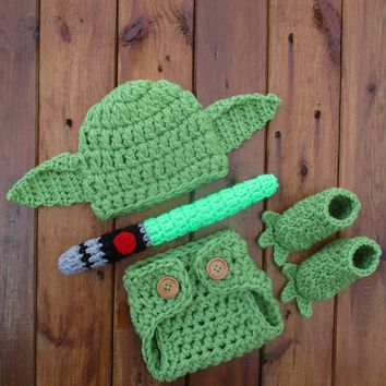 Baby Yoda Crochet Costume Green Newborn Photo Prop