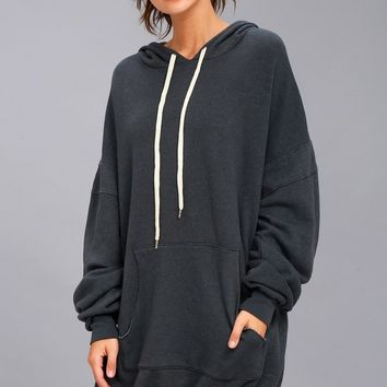 Project Social T Luca Washed Black Hooded Dress