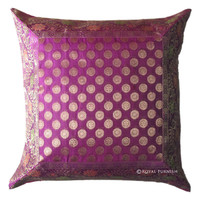 Pink Decorative Dot Silk Brocade Throw Accent Cushion Cover