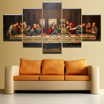 Canvas Picture Living Room Wall Art Framework 5 Pieces Last Supper Landscape Painting HD Prints Jesus Christ Posters Home Decor