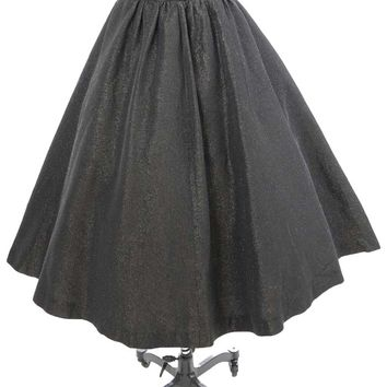Vintage Black Lurex Full Swing Skirt