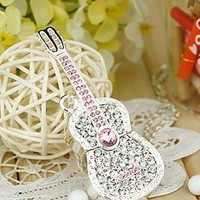 My Associates Store - Shiny Crystal Diamond Guitar USB Flash Drive with Necklace:8GB(Silver)
