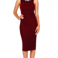 OPEN BACK VELVET WINE DRESS