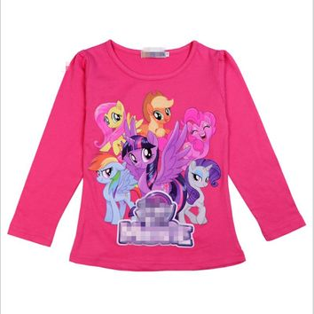 new girl T-shirt tee cartoon My cute Girls Clothes little ponys pattern Clothes long sleeves T shirts tops Kids Birthday 2-11Y