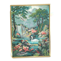 Vintage Wall Art, Paint by Numbers, Swan, Pink Coral and Aqua, Waterfalls, Framed Retro Wall Decor
