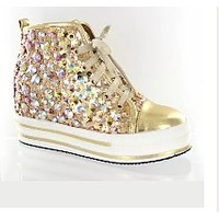 Gold Colored Full Bling Tennis Shoe