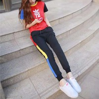 """""""Adidas"""" Women Casual Personality Multicolor Numeral Print Short Sleeve Trousers Set Two-Piece Sportswear"""