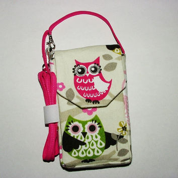 iPhone Smartphone Evo Droid Cell Phone iPod Blackberry Case Mini Purse Pouch Vertical Cross Body Strap: Owls Pink Green Black White Cream