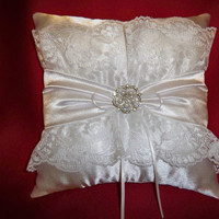 "Ring Bearer Pillow - White Satin with Sash - 10"" x 10"" - Pearl & Rhinestone Center Button - Lace"