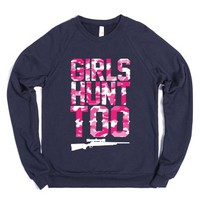 Girls Hunt Too-Unisex Navy Sweatshirt