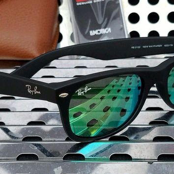 One-nice™ New Ray Ban RB2132 622/19 New Wayfarer Sunglasses Matte Black w / Green Flash