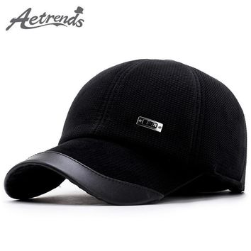Trendy Winter Jacket [AETRENDS] Corduroy Baseball Hats Caps Men Suede Cap Dad Hat Thicken with Ear Flaps Bone Masculino Full Cap with Ears Z-5890 AT_92_12