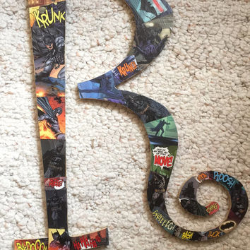Comic Book Swirly Letter Wall Art R