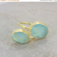 25% SALE Aqua Chalcedony Ring - Gold Bypass Ring - Gold Vermeil Ring - Stacking Ring - Handmade Ring - Bezel Set Ring - Adjustable Ring - Br
