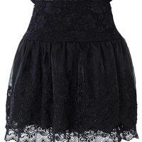 Black Embossed Lace Mini Skirt