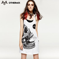 Skull print loose sleeveless vest one-piece dress