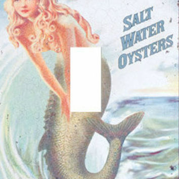 Light Switch Cover - Light Switch Plate Mermaid Brand Oysters Vintage Advertising