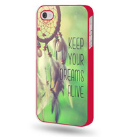 Shawnex Keep Your Dreams Alive Dream Catcher Red Plastic iPhone 4 & 4S Case - Fits iPhone 4 & 4S