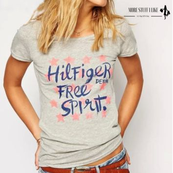 """Women Star Letter Print Gray T-shirts Vintage Short Sleeve T Shirts Casual """" FREE SHIPPING """""""