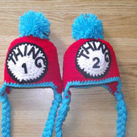 Dr Suess Thing 1 & thing 2 twin hat set by SweetPeaCreates00