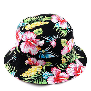 Women Fashionable Outdoor Fishing Sun Hat Floral Fisherman Panama Cap Bob Chapeau Cotton Brand Summer Bucket Hat Men Hip Hop
