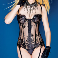 PVC and Lace Bustier, PVC Bustier, Wet Look Bustier