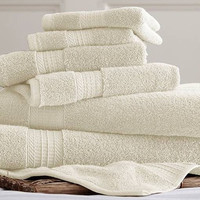 Spa Collection 6 piece Cotton Towel Sets (Ivory)