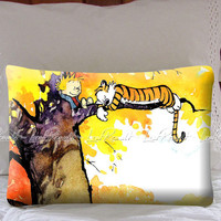 Calvin And Hobbes Sleeping On Tree on Decorative Pillow Covers