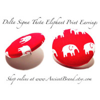 Oversized Delta Sigma Theta Elephant Button Earrings
