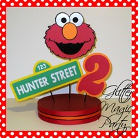 Elmo Centerpiece Personalized Name and Age - Sesame Street, Dorothy - Sesame Street Party Decoration - Elmo Party