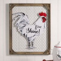"""Farm House Country Style """"Rise & Shine!"""" Chicken Wall Décor with Chicken Wire"""