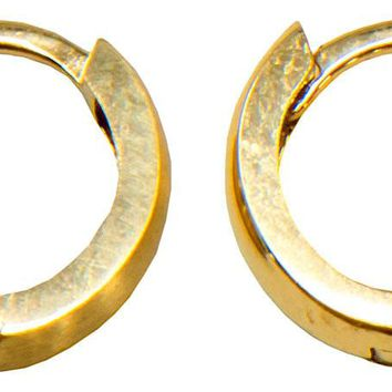 14k Yellow Gold Brushed-or-Polished Reversible Small Huggie Hoop Earrings, All Sizes