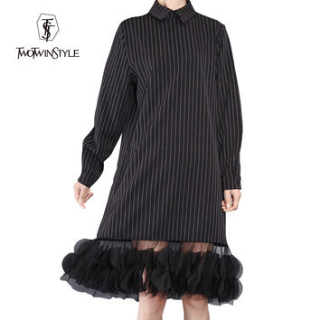 [TWOTWINSTYLE] 2016 Ladies Vertical Stripes Splicing Flowered Mesh See Through Long Sleeve Lapel Dress Women New