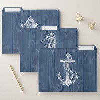 Beach Sea Wood Blue Rustic File Folders