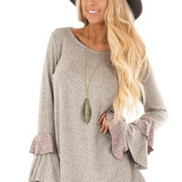 Taupe Two Tone Knit Tunic Top with Color Block Ruffle Sleeves
