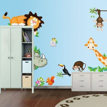 Hot Sale 2016 wall stickers Animal Zoo Tiger Kids Room Wall Stickers Home decor  Mural for kids rooms XT