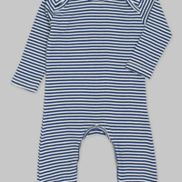 Navy & Ivory Striped Romper