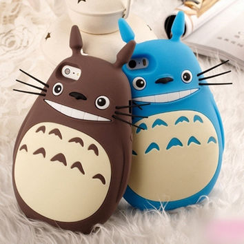 3D Cute Cartoon Totoro Cat Soft Silicon Back Cover Fundas Phone Cases For Apple iphone 5s 5 SE 6 6s 6 plus 6sPlus Lovely Coque