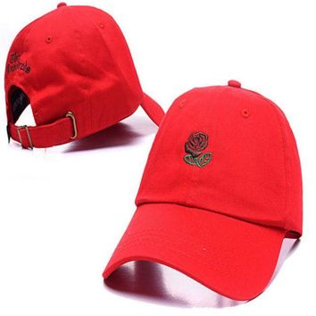 DCCKUNT Red The Hundreds Rose Embroidered Unisex Adjustable Cotton Sports Cap Hat