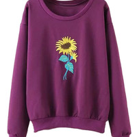 Purple Sunflower Embroidered Sweatshirt