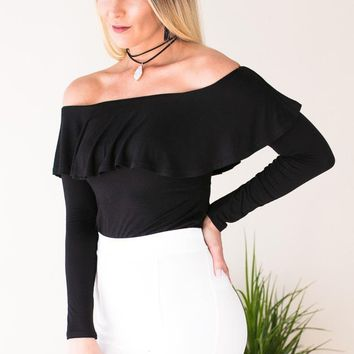 Lips are Sealed Ruffle Off Shoulder Crop Top