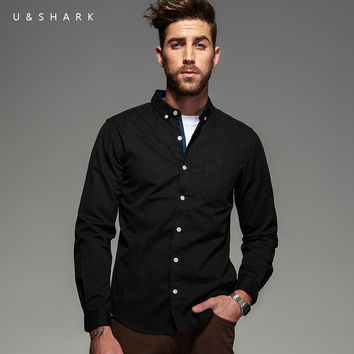 Fall Vintage Cotton Oxford Black Shirt Men Blouse Long Sleeve Designer Casual Shirt Male