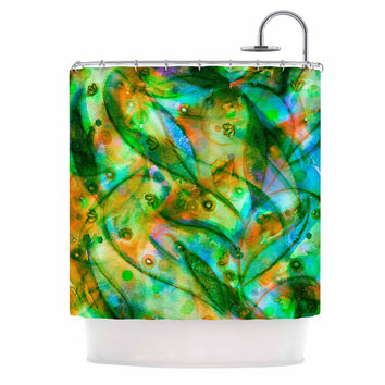 "Ebi Emporium ""Flourish - Green"" Emerald Floral Shower Curtain"