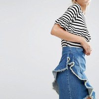 ASOS Denim Mini Skirt with Raw Edge Ruffle in London Blue at asos.com